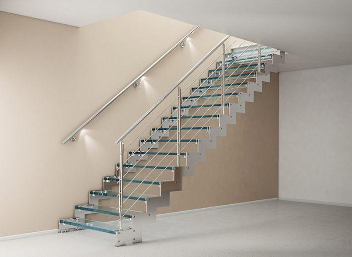 Corrimano in legno con led illuminazione per scale interne idee originali con ringhiera da - Luci per scale ...