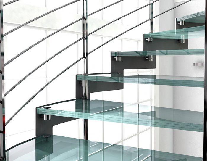 Scala a chiocciola con gradini in vetro bologna - Gradini per scale a chiocciola ...