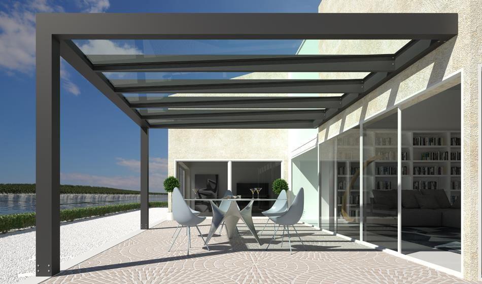 Pergola moderna in alluminio con tetto in vetro addossata for Design moderno di portico in vetro
