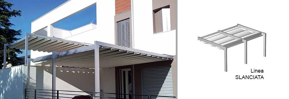 Tettoie moderne pergola addossata in alluminio con for Tettoie in legno leroy merlin
