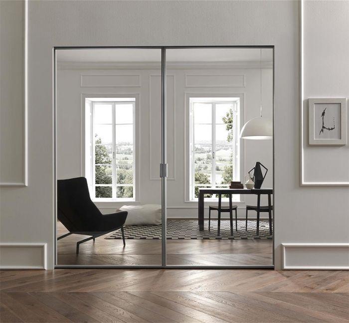 Porta interna in vetro alluminio apertura scorrevole a - Vetro per porta interna ...