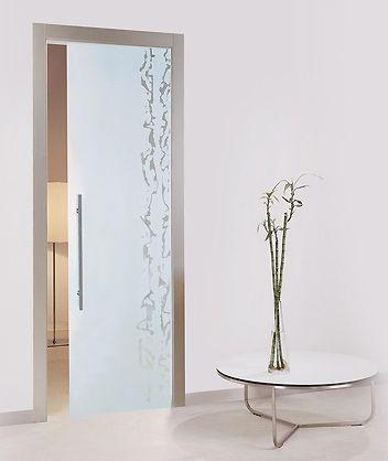 Porta tutto vetro inciso sabbiato mod frammenti bologna - Porta scorrevole in vetro prezzo ...