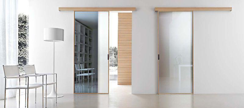 Porta interna in metallo e vetro apertura scorrevole - Porta specchio scorrevole ...
