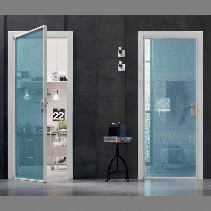 Porta interna in metallo e vetro apertura a battente bologna - Telaio porta interna ...
