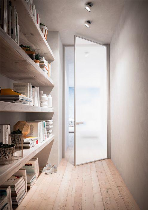 Preventivo porta interna tutto alluminio e vetro apribile a battente bologna - Telaio porta interna ...