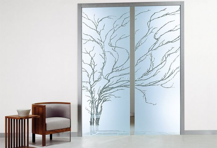 Porta tutto vetro inciso sabbiato mod albero bologna - Vetro per porta prezzo ...