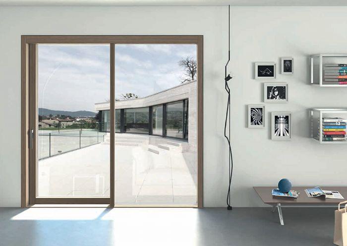 Portafinestra scorrevole alzante in legno complanare minimale bologna - Aeratore termico per finestra ...