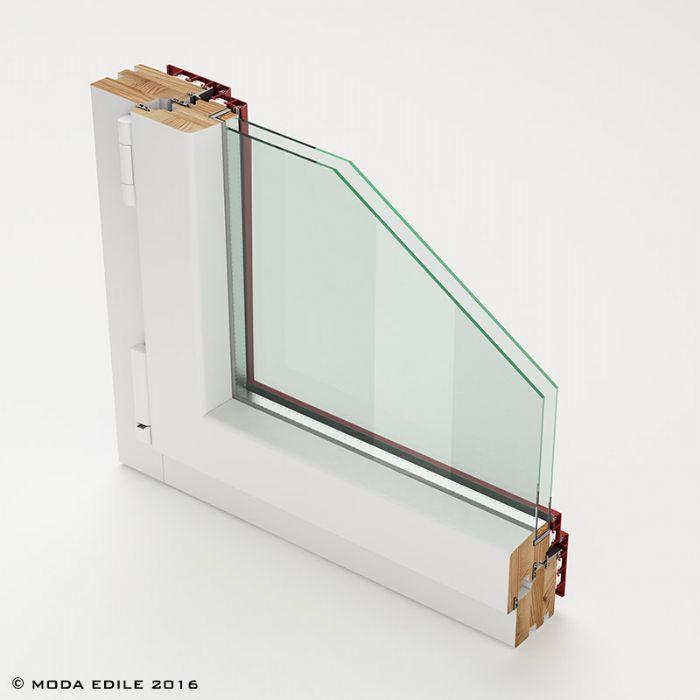 Finestra scorrevole alzante in legno alluminio bologna for Finestra legno bianco