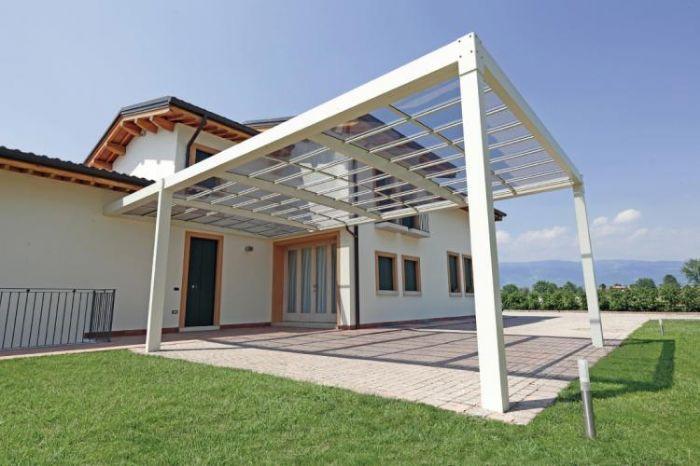 Pergola moderna in alluminio autoportante e copertura in - Pergola giardino ...