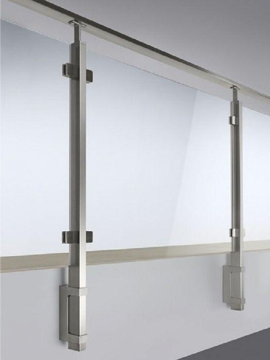 parapetto quadrato in acciaio inox con vetro bologna. Black Bedroom Furniture Sets. Home Design Ideas