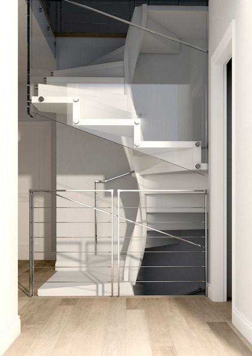 Scala in fibra elicoidale quadrata con gradini in legno - Scale a pianta quadrata ...