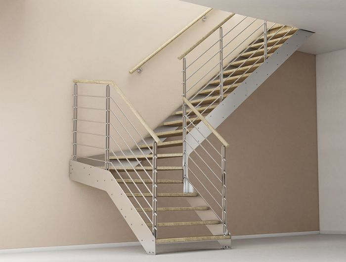 Scala in acciaio rettilinea con gradini in legno bologna - Immagini scale in legno ...