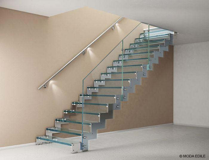 Scala in acciaio rettilinea con gradini in vetro bologna - Scale in vetro e acciaio prezzi ...