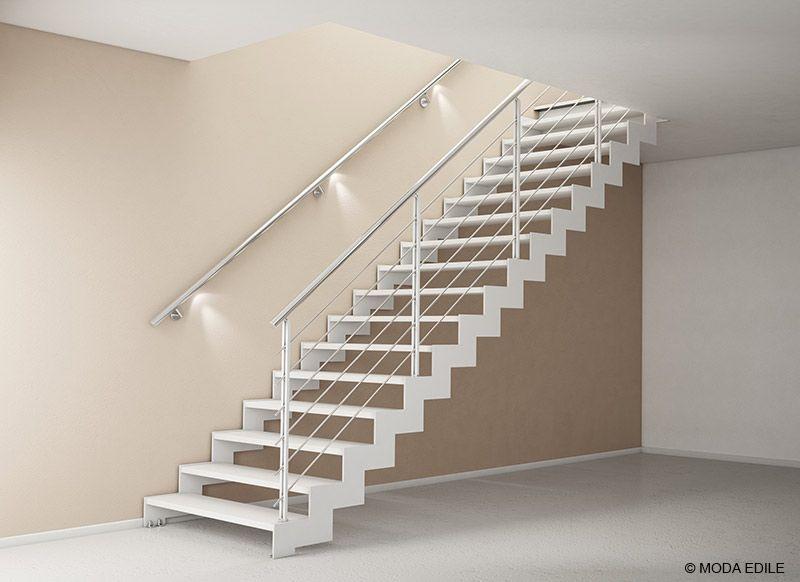 Scala in acciaio rettilinea con gradini in legno bologna for Gradini in legno prezzi