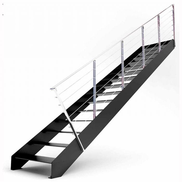 Scala moderna rettilinea con gradini in ferro minimal bologna - Scale di ferro ...