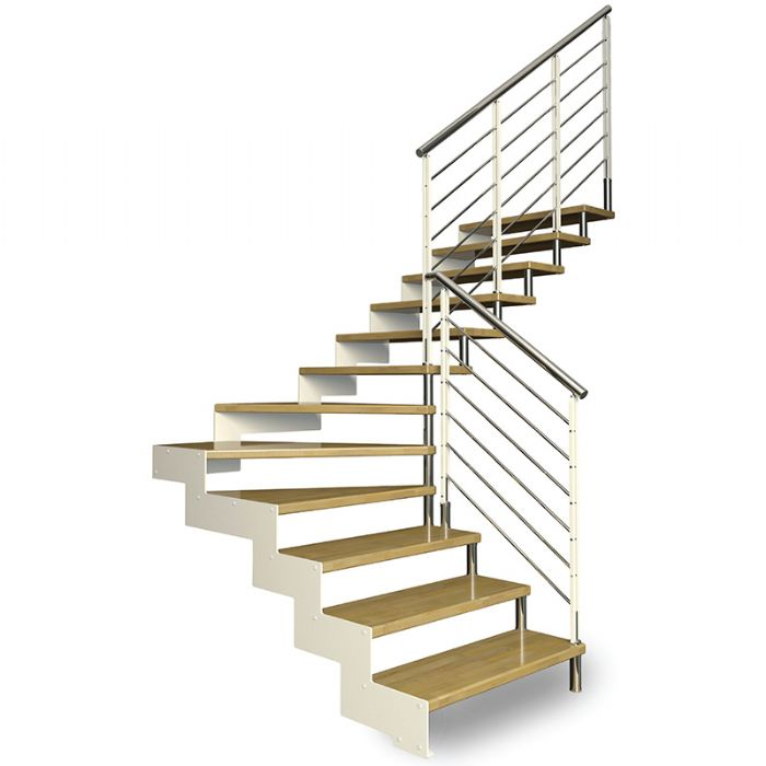 Scala in acciaio rettilinea con struttura laterale e for Gradini in legno prezzi