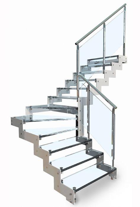 Scala in acciaio rettilinea con gradini in vetro bologna - Altezza corrimano scale interne ...