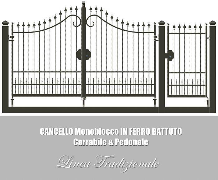 Preventivo cancello carrabile e pedonale in ferro battuto - Cancelletto in ferro battuto ...
