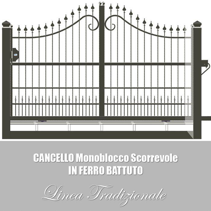Preventivo cancello monoblocco in ferro battuto apribile for Foto cancelli scorrevoli in ferro