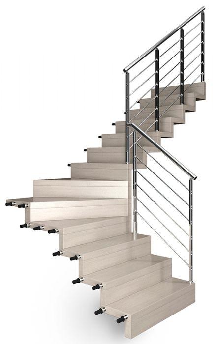 Scala in legno rettilinea con gradini a sbalzo bologna for Immagini scale in legno