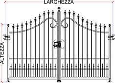 Misure Standard Cancello A Due Ante.Preventivo Cancello In Ferro Battuto Apribile A Battente Linea