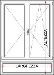 Finestra 2 Ante Con Sottoluce Legno Alluminio Bologna