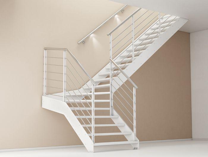 Scala in acciaio rettilinea con gradini in ferro bologna - Altezza corrimano scale interne ...