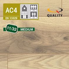 PREVENTIVO Pavimento Laminato Medium ROVERE ALBERTA (listello 1291 x 135 x sp. 11 mm.)