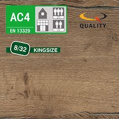 PREVENTIVO Pavimento Laminato Kingsize ROVERE VALLEY MOKA (listello 1291 x 327 x sp. 8 mm.)