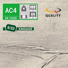 PREVENTIVO Pavimento Laminato Kingsize ROVERE VERDON BIANCO (listello 1291 x 327 x sp. 8 mm.)