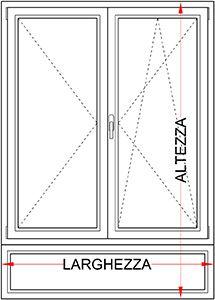 Finestra 2 ante con sottoluce legno alluminio bologna for Finestra 2 ante