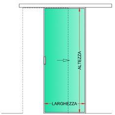 Porta interna in metallo e vetro apertura scorrevole esterno muro bologna - Misura porta standard ...