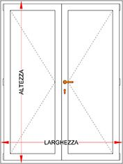 Portafinestra alluminio fibra legno 2 ante con serratura bologna - Altezza porte finestre ...