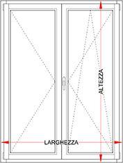 Portafinestra alluminio legno 2 ante bologna - Altezza porta finestra ...