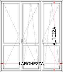 Portafinestra pvc 3 ante con ribalta bologna for Altezza porta finestra