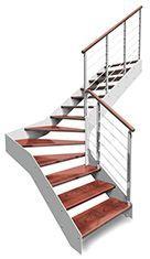 Scala in acciaio rettilinea con gradini in legno bologna for Gradini in legno massello prezzo